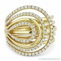 0.78 Ct Round Cut Diamond Loop 14k Yellow Gold Right-hand Fashion Cocktail Ring