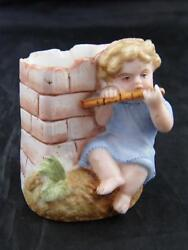 Victorian Hand Painted Bisque Boy Playing Flute Match Holder