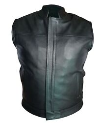 New Mens 100 Real Leather All Black Motorcycle Biker Style Vest Waistcoat