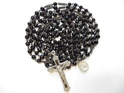 Rare Antique French Black Jet Glass Beads 15-decade Rosary-bubble Medal/purse