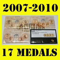 2007 2008 2009 2010 Us Mint First Spouse Lady 4 Bronze Medal Sets 17 Medals Gift
