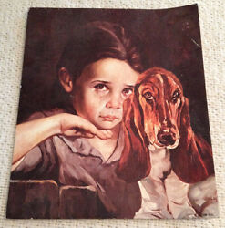 Lithograph USA of Girl with Her Basset Hound Sad Face 10