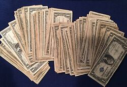1935 And 1957 Well Circulated One Dollar Silver Certificate Bills Note Lot Of 50