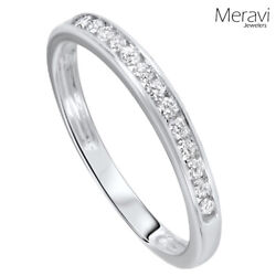925 Sterling Silver Wedding Ring Womens Stackable Channel AAA CZ Accent Band NEW $14.95