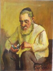 Israeli Art - A. Adler - THE PIPE - Oil on Canvas - Unique - 15.75