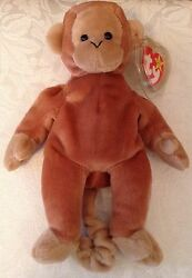 Ty Collection Great Bongo Beanie Baby Tan Tail 1995 P.e. Pellets