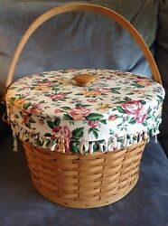 Longaberger 1995 Sewing Basket With Liner And Padded Top Only - Used