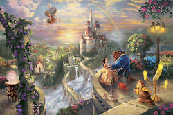 Thomas Kinkade Disney Gallery Proof Beauty And Beast 18 X 27 Canvas New Sign Hl