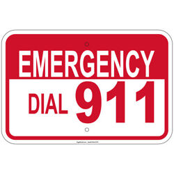 Heavy Gauge Emergency Dial 911 Sign 12 X 18 Aluminum Sign Retail Store