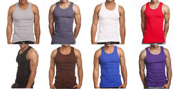 3 or 6 Pack Men's Tank Top 100% Cotton A-Shirt Lot Wife Beater Ribbed Undershirt $18.95