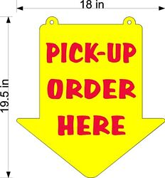 Pick Up Order Here Sign Yellow Plexi Glass Arrow New Larger Size 18 X 19.5