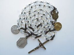 Late 1800s Large Antique 'icy' Clear Glass Beads Rosary-in Brass W/ Medals