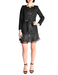 Black Pique And Chiffon Two-piece Jacket And Shorts Suit