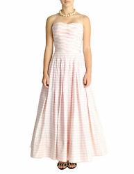Vintage Pink And White Striped Raw Silk Shantung Pleated Bodice Gown Dress