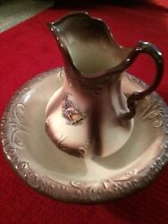 Ironstone Vintage 1890 England Pitcher And Wash Bowl Ceramic Collectible Original