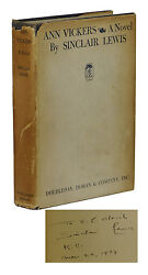 Signed Ann Vickers Sinclair Lewis Limited First Edition 1st Printing 1933