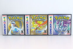 Pokemon Gold Silver and Crystal Custom Game Cases *NO GAME* Game Boy Color GBC $23.99