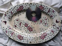 Antique 1880 Stamp Zsolnay Hungary Porcelain China Large Plate Dish Tray Purple