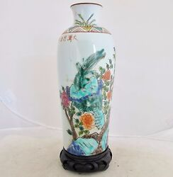 9 Antique Chinese Thick Porcelain Vase W/ Bird, Flowers, Tongzhi Marks And Stand