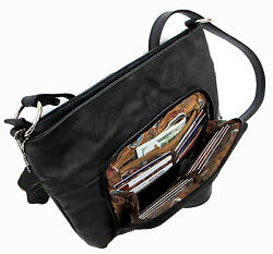 Genuine Leather 3 in 1 Cross body Shoulder Slim Purse w Organizer Medium Black $21.99