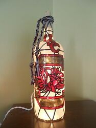 South Carolina Gamecocks Inspired Lighted Wine Bottle Hand Painted Stained Glass