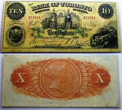 1917 Bank Of Toronto 10 - Chartered Banknote Large Size - Scarce