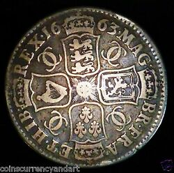 1663 Great Britain Silver Half Crown -just A Beautiful Coin -charles Ii