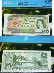 Error -cut Out Of Size - 1969 Bank Of Canada 20 - Uncirculated - Very - Scarce
