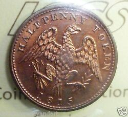 One Of The Best -breton-994 -red - Lc-54d2 Half Penny Token 1815 - Iccs