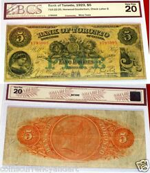 The Bank Of Toronto 1923 5 Beautiful Chartered Train Banknote