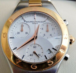 Baume And Mercier Linea Ladiesand039 Two Tone Chronograph Stainless Steel Watch