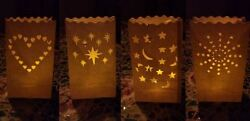 Outdoor Luminary Candle Bags Weddings Party White Heart Birthday Stars 10 20 40