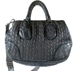 PRADA NAPPA LEATHER TEXTURED SHOULDER BAG ITALY
