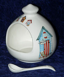 Beach Huts Salt Pig. Large Salt Pig Decorated With Beach Huts And Ceramic Spoon