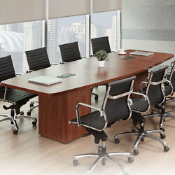 Modern Conference Room Table Boatshape W Cube Base Power Modules 8ft - 24ft Foot