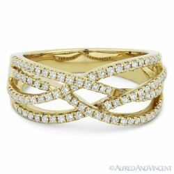 0.44ct Round Cut Diamond Right-hand Overlap Loop Fashion Ring In 14k Yellow Gold