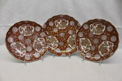 Nm 3 Pc Hand Painted Gold Imari Scalloped Red And Gilt 9.75 And 10.5 Plates, Japan