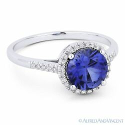 1.72ct Blue Lab Sapphire And Diamond Halo 14k White Gold Promise Anniversary Ring