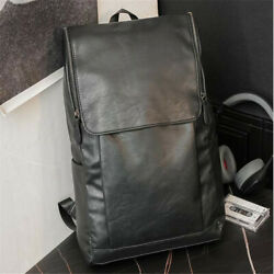 Men#x27;s Black Leather Messenger Backpack Laptop Bag Shoulder Rucksack Schoolbag $23.99