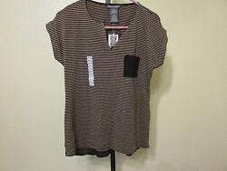 NWT Chelsea & Theodore Womens Striped Open V-Neck T-Shirt-KhakiBlack-Size-Large