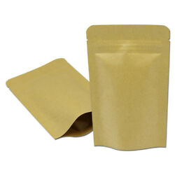 Kraft Paper Stand Up Aluminum Foil Resealable Pouch For Zip Heat Seal Lock Bags
