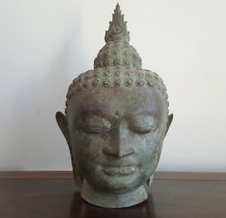 And039sale 25and039 Buddha Head Bronze With An Antique Finish Life Size 430mm High