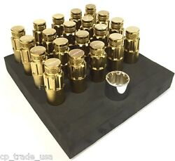 NRG STEEL LUG NUTS WITH DUST CAP COVER SET 12X1.5 CHROME GOLD FITS HONDA ACURA