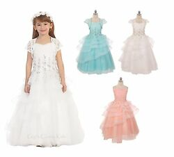 New Flower Girls Princess Dress Wedding Pageant Easter Birthday Party Formal 341