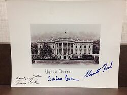Jimmy Carter Gerald Ford +3 Signed White House Photo 8x10 Full Signature
