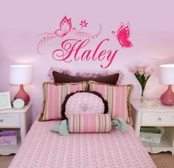 Butterfly Wall Sticker Personalized ONE NAME Vinyl Wall Decal Girl#x27;s Bedroom