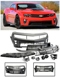 For 10-13 Camaro ZL1 Style Front Bumper Cover Upper Lower Grille W Fog Lights