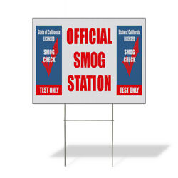 Weatherproof Yard Sign Official Smog Station Check Test Blue Lawn Garden