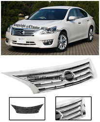 For 13-15 Nissan Altima Front Bumper Hood JDM Style Upper Center Chrome Grille