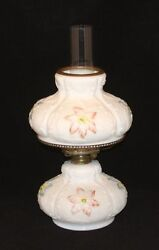 Antique Consolidated Eapg Clematis Colored Floral Milk Glass Oil Lamp With Shade